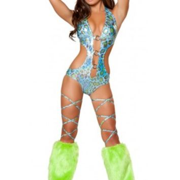Triple O-Ring Romper Neon Rave Wear - Rave Clothes