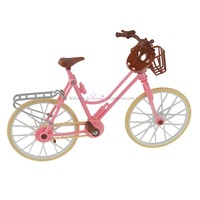 Fashion Beautiful Pink Bicycle Detachable Bike & Basket With Brown plastic helmet Toy Accessories for Barbie Dolls Accessories