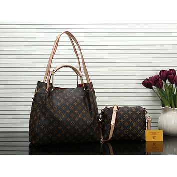 Louis Vuitton LV Women Shopping Bag Leather Tote Crossbody Satchel Shoulder Bag Handbag Set Two Piece