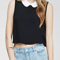 Black Contrast Collar Sleeveless Crop Top
