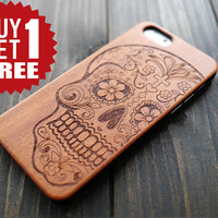 Rosewood Skull iPhone 6 6s Wood PC Case Cover , Real Wood iPhone 6 6s PC Case Holder , iPhone 6 6s Wood PC Protector Case , Durable Gift