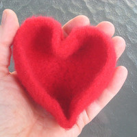 Sweet on You Red Felted Heart Shaped Bowl For your Valentine or Any time