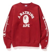BAPE Unisex Fashion Casual Pattern Print Long Sleeve Top Sweater Sweatshirt-1