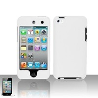 Premium Rubberized Snap-on Hard Crystal Front and Rear Case Cover for Apple iPod Touch 4G, 4th Generation, 4th Gen - white compatible with 8GB / 32GB / 64GB