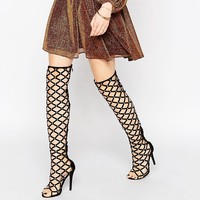 Public Desire Caged Over The Knee Heeled Sandals