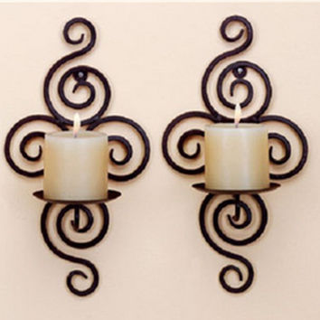 New Home Candlestick Holders Handmade Iron Hanging Wall Sconce Candle Holder Shelf Furnishing Articles Decoration