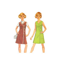 1960s Misses Wrap Dress Sewing Pattern Button Front V Neck 36 Bust Size 14 Simplicity 8232