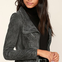Ready For Anything Charcoal Grey Suede Moto Jacket