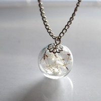 Dandelion Necklace Real Dandelion Seeds Make A Wish Silver Necklace Globe Large Bead