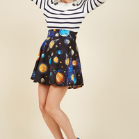 Playful Feeling Skater Skirt in Planets | Mod Retro Vintage Skirts | ModCloth.com