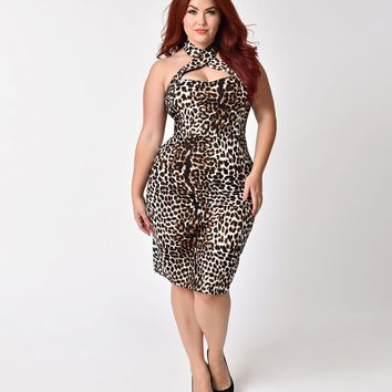 Unique Vintage Plus Size 1960s Leopard Criss Cross Halter Penelope Wiggle Dress
