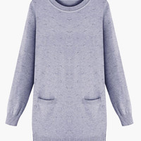Gray Long Cuff Sleeve Double Pocket Knitted Top