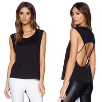 Summer Women's Fashion Plus Size Tops Backless Sleeveless T-shirts Hoodies [6048672257]