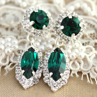 Emerald Silver crystal Marquis earring - Silver plated earrings real swarovski rhinestones.