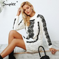 Simplee O neck twist knitted sweater dress women Elegant lace autumn winter dress 2018 Vintage long sleeve white dress vestidos