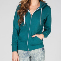 Full Tilt Essential Womens Zip Hoodie Teal Green  In Sizes