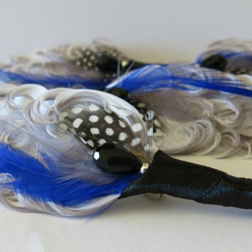 Boutonniere Wedding Groom Groomsmen Black White Royal Blue Grey Peacock Feather Boutonniere Lapel Pin Buttonhole