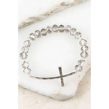 Beautiful Crystal Bead Stretch Bracelet with Textured Cross Accent