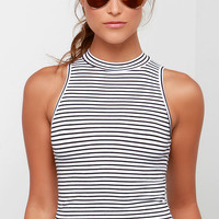 Striper Active Black and Ivory Striped Crop Top