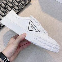 PRADA hot sale stitching color letter printing ladies sneakers casual shoes
