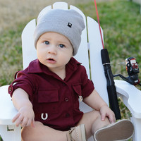 BullRed Clothing - Sun Protective Fishing Onesuit - Burgundy (6M, 9M, 18M Available)