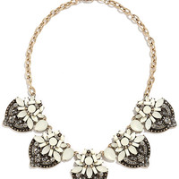 River Gem Gold and White Statement Necklace