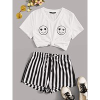 SHEIN Smile Print Top & Striped Shorts Set