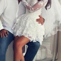 Long Sleeve Lace Appliques Short White Homecoming Dress