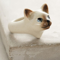 Blue-Eyed Cat Portrait Ring