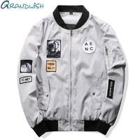 New Men Bomber Jacket Hip Hop Patch Design Slim Fit