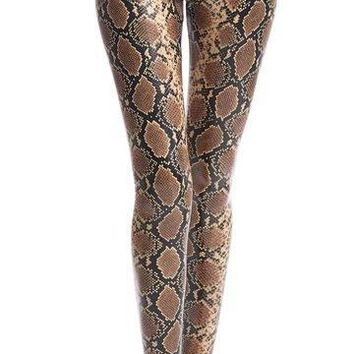 Perfect Control Faux Leather Animal Legging