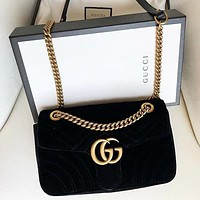 GUCCI Fashion Women Shopping Leather Velvet Handbag Tote Crossbody Satchel Shoulder Bag Black