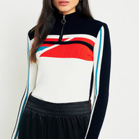 Urban Outfitters Geometric Half-Zip Mock Neck Jumper | Urban Outfitters
