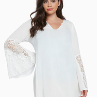 Gauze Lace Inset Swim Cover Up