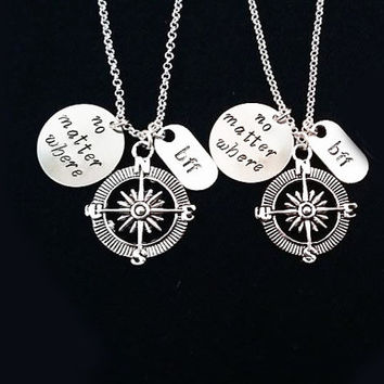 2 best friend necklace matching friendship necklace compass necklace no matter where gay lesbian necklace relationship jewelry personalized