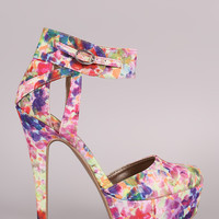 Qupid Abstract Watercolor Ankle Cuff Platform Pump