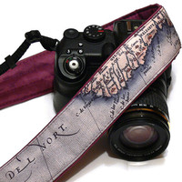 Vintage Map Camera Strap, dSLR Camera Strap, SLR, Nikon, Canon Camera Strap, Men, Women Accessories