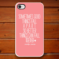 iPhone Case - Marilyn Monroe Quote - Better Things - Pink - White - Heart - iPhone 4 - iPhone 4s