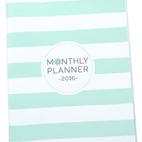 bloom daily planners 2016 Calendar Year Monthly Planner - Goal Organizer - Fashion Agenda - MONTHLY Planner - (January 2016 Through December 2016) Mint Chevron