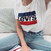 """""""Levi's"""" Unisex All-match Casual Fashion Multicolor Letter Pattern Print Short Sleeve Couple T-shirt Top Tee"""