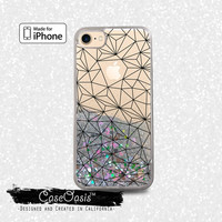 Geometric Black Line Art Shapes Grid Tumblr Liquid Glitter Sparkle Case iPhone 6 and 6s iPhone 6 Plus and 6s Plus iPhone 7 and iPhone 7 Plus