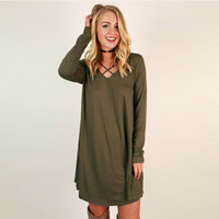 Army Green Long-Sleeved Cross Stitching Dress