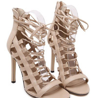 Beige Lace Up Caged Heeled Sandals