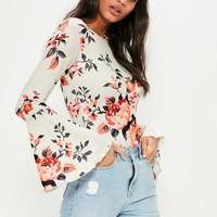 Missguided - White Floral Printed Long Sleeve Bodysuit
