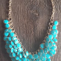 Just Dropping By Necklace-Turquoise