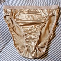 VTG VICTORIA'S SECRET SECOND SKIN SATIN GOLD PANTIES SIGNATURE Hi Cut M
