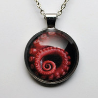 Red Octopus Tentacle Art Glass Dome Antique Silver Necklace