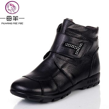 MUYANG MIE MIE Plus size(35-43) 2016 Winter Women Shoes Woman Genuine Leather Flat Ankle Boots Warm Snow Boots Women Boots