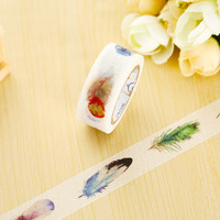 1.5cm*7m Feather washi tape DIY decorative scrapbook planner masking tape office adhesive tape label sticker stationery