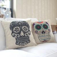 """MagicPieces Cotton and Flax Decorative Pillow Case Pillow Cover Case 18"""" x 18"""" Square Shape Skull Print A"""